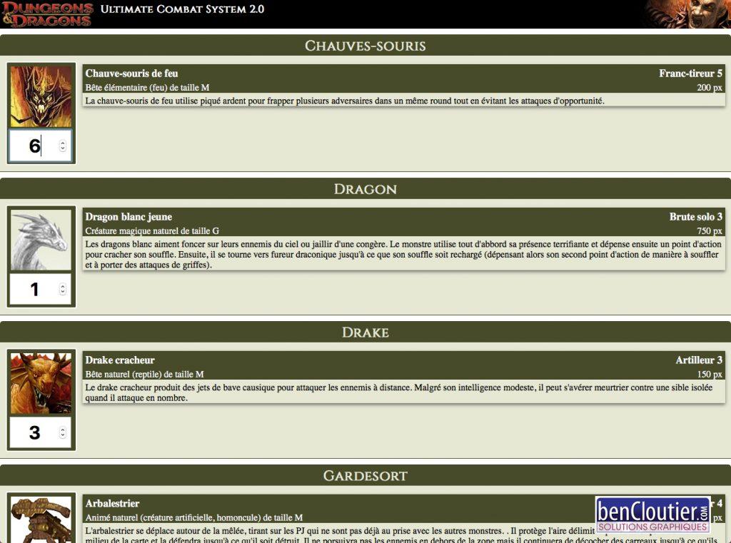 Gestionnaire de combat Dungeons & Dragons-4 | bencloutier
