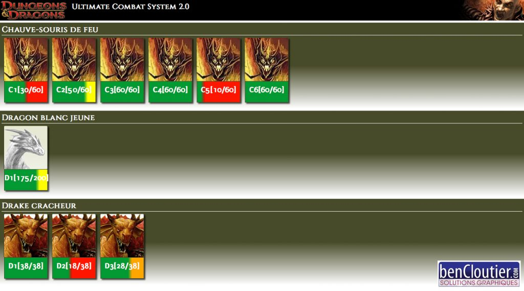 Gestionnaire de combat Dungeons & Dragons 4.0 - écran 2 | bencloutier