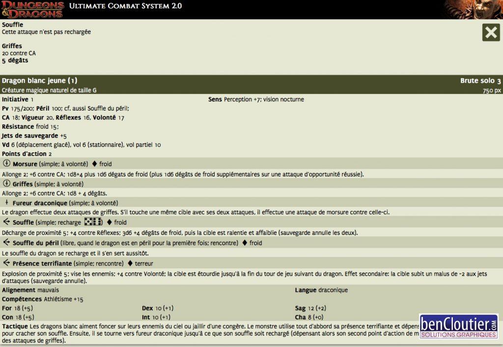 Gestionnaire de combat Dungeons & Dragons 4.0 - écran 3 | bencloutier