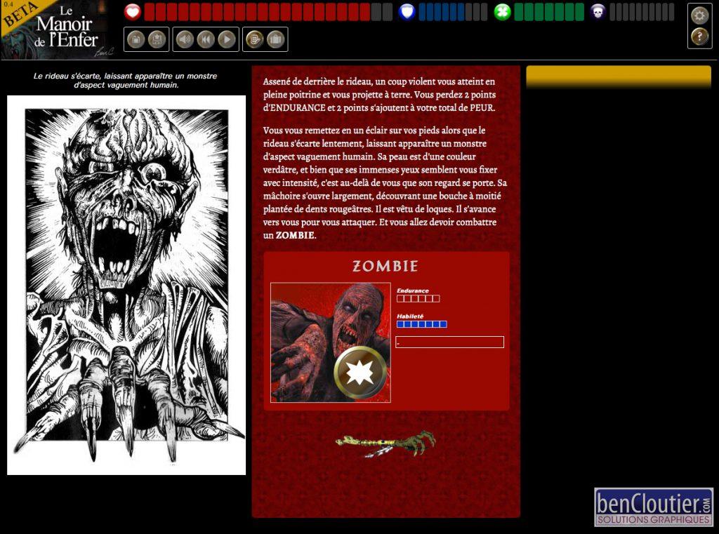 Manoir de l'Enfer HTML/JavaScript - Combat zombie